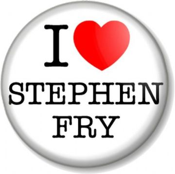 I Love / Heart STEPHEN FRY Pin Button Badge Iconic Actor Comedian Writer Personality Intellectual
